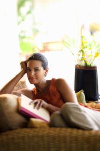 Woman reading after receiving an eye exam